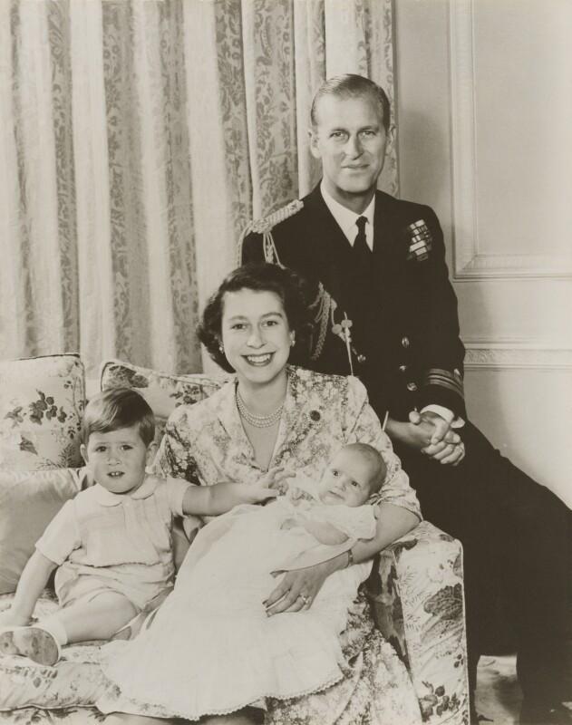 Prince Charles; Queen Elizabeth II; Princess Anne; Prince Philip, Duke of Edinburgh, by Baron Studios, December 1950 - NPG P1421 - © Baron/Camera Press