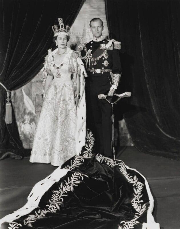 Queen Elizabeth II; Prince Philip, Duke of Edinburgh, by Cecil Beaton, 2 June 1953 - NPG P1453 - © V&A Images