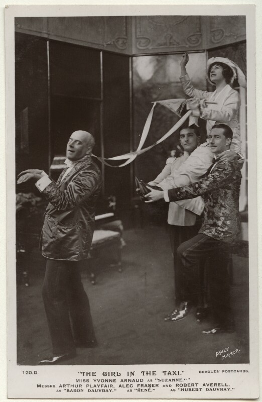 The cast of 'The Girl in the Taxi', by Daily Mirror, published by  J. Beagles & Co, 1912 - NPG Ax160159 - © National Portrait Gallery, London