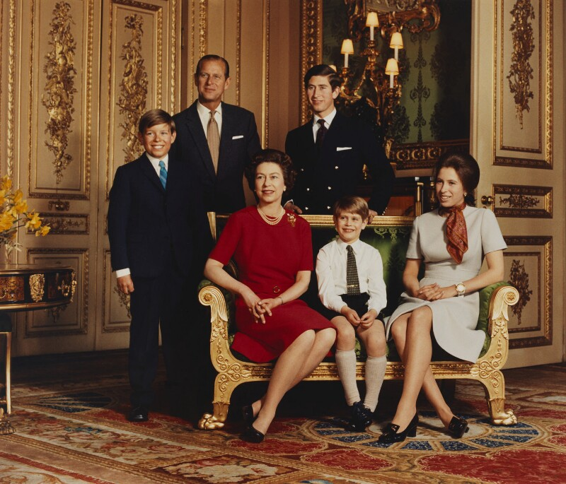 Queen Elizabeth II and her family, by Desmond Groves, April 12 1971 - NPG P1545 - © Camera Press; On loan from American Friends of the National Portrait Gallery (London) Foundation, Inc.: Gift of Mr. Ford Hill.