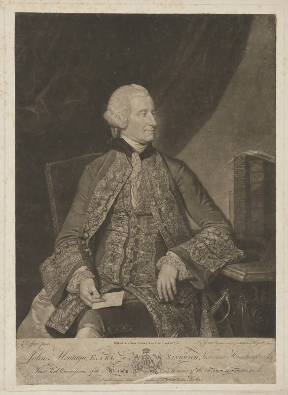 John Montagu, 4th Earl of Sandwich, by and published by Valentine Green, after  Johan Joseph Zoffany, published 30 August 1774 - NPG D40059 - © National Portrait Gallery, London