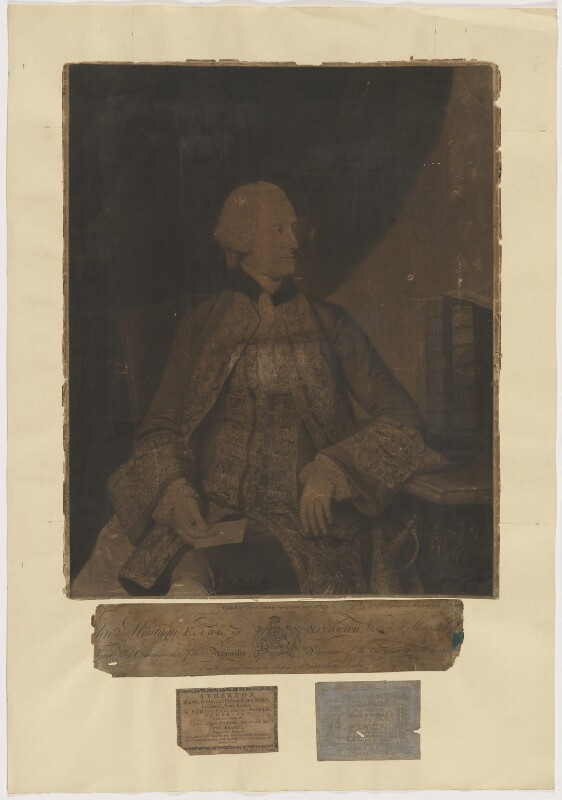 John Montagu, 4th Earl of Sandwich, by and published by Valentine Green, after  Johan Joseph Zoffany, published 30 August 1774 - NPG D40545 - © National Portrait Gallery, London