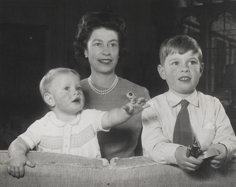 Prince Edward; Queen Elizabeth II; Prince Andrew, Duke of York, by Studio Lisa (Lisa Sheridan), March 1966 - NPG P1635 - © Camera Press / Getty Images