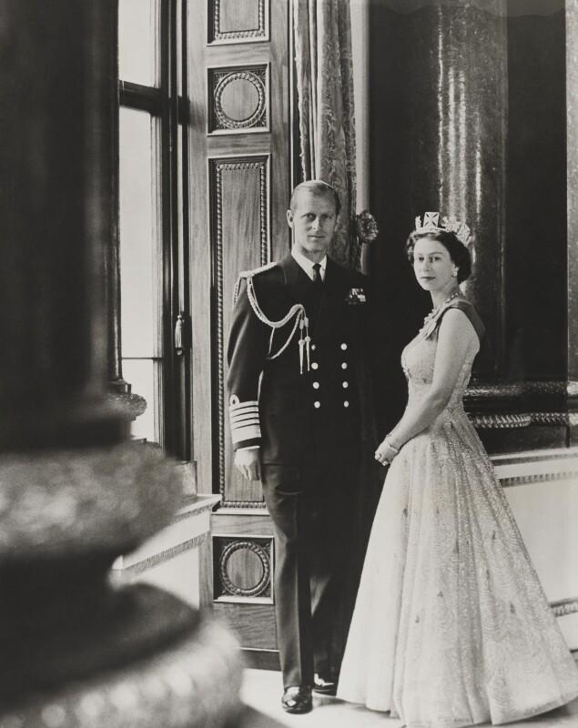 Prince Philip, Duke of Edinburgh; Queen Elizabeth II, by Lord Snowdon, 10 October 1957 - NPG P1640 - © Armstrong Jones