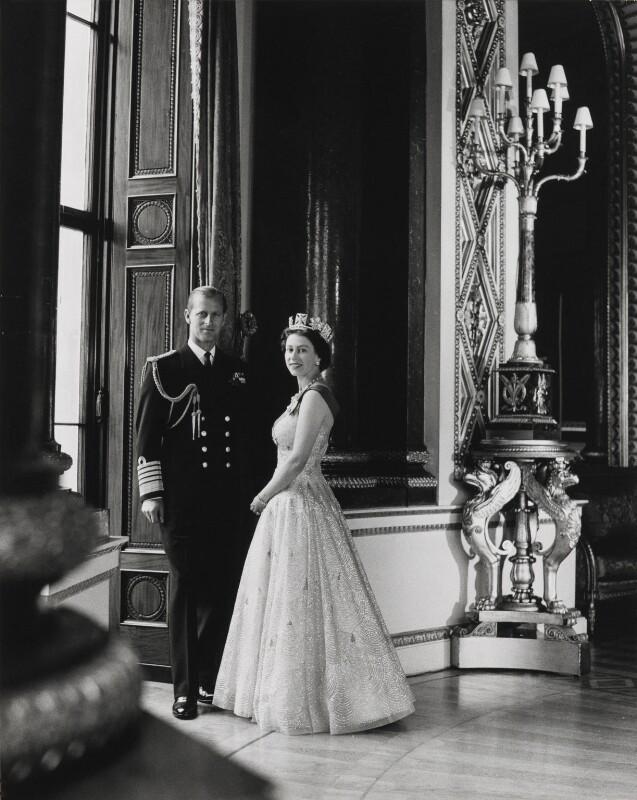 Prince Philip, Duke of Edinburgh; Queen Elizabeth II, by Lord Snowdon, 10 October 1957 - NPG P1642 - © Armstrong Jones