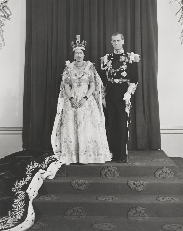 Queen Elizabeth II; Prince Philip, Duke of Edinburgh, by Unknown photographer, June 1953 - NPG P1656 - © reserved; collection National Portrait Gallery, London