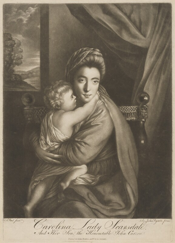 'Caroline Curzon (née Colyear), Lady Scarsdale with her son the Honourable John Curzon' (John Curzon; Caroline Curzon (née Colyear), Lady Scarsdale), by P. or S. Paul (Samuel de Wilde?), printed for  John Bowles, after  Sir Joshua Reynolds, 1770s (1760) - NPG D40561 - © National Portrait Gallery, London