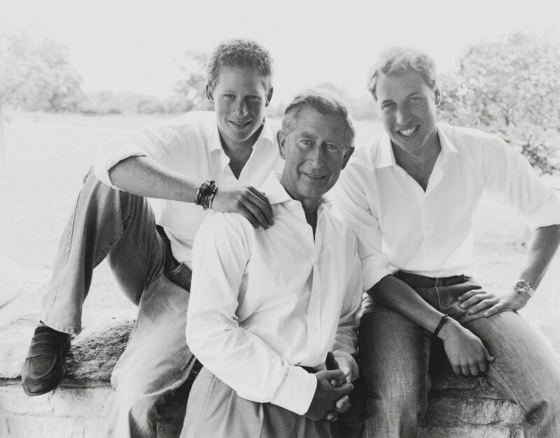 Prince Harry; Prince Charles; Prince William, Duke of Cambridge, by Mario Testino, 2004 - NPG P1387 - © Mario Testino