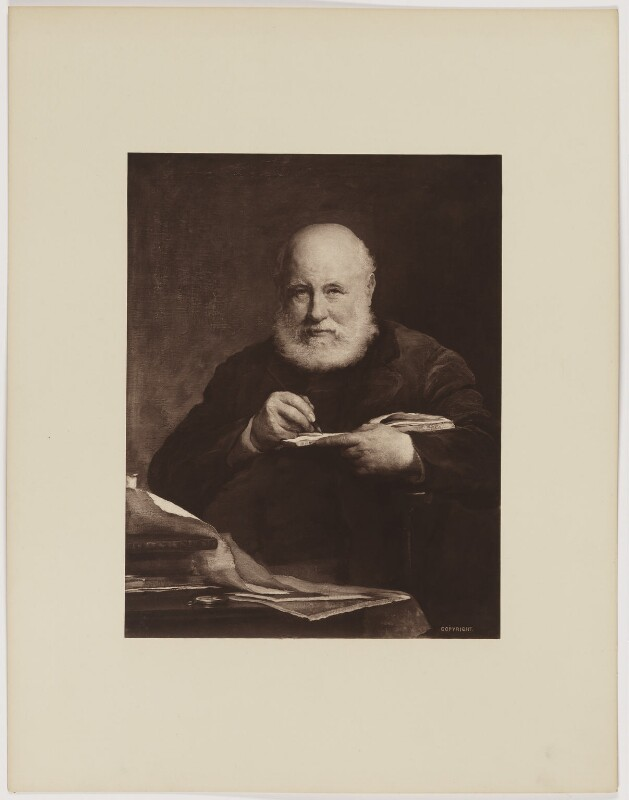 Sir George Scharf, by Henry Dixon & Son, after  Walter William Ouless, 1889 (1885) - NPG D40567 - © National Portrait Gallery, London