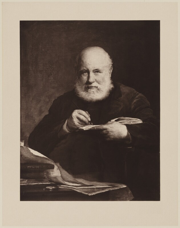 Sir George Scharf, by Henry Dixon & Son, after  Walter William Ouless, 1889 (1885) - NPG D40568 - © National Portrait Gallery, London
