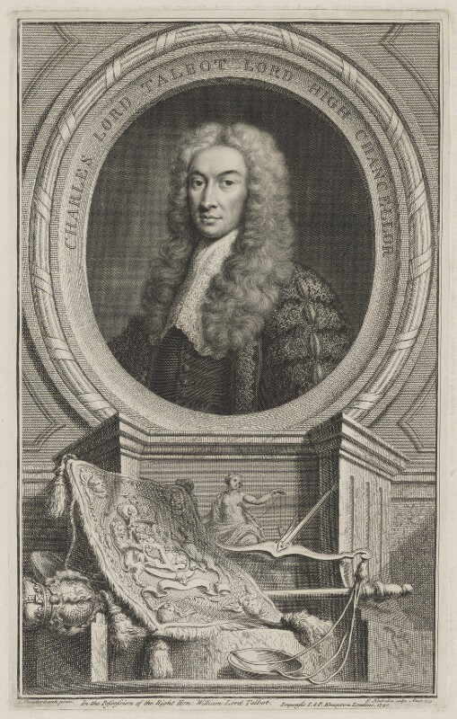 Charles Talbot, 1st Baron Talbot of Hensol, by Jacobus Houbraken, published by  John & Paul Knapton, after  John Vanderbank, 1739 - NPG D40540 - © National Portrait Gallery, London