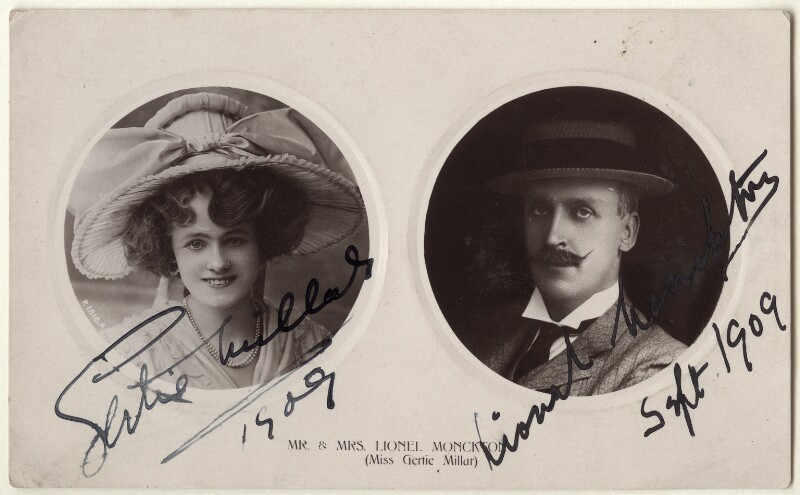 Gertie Millar; Lionel Monckton, published by Rotary Photographic Co Ltd, circa 1909 - NPG Ax160179 - © National Portrait Gallery, London