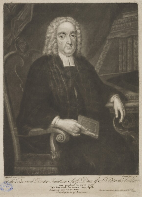 Jonathan Swift, by Thomas Burford, published by  John Bowles, after  Markham, 1744 - NPG D40800 - © National Portrait Gallery, London