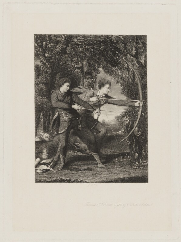The Archers (John Dyke Acland; Dudley Alexander Sydney Cosby, Baron Sydney), by James Scott, after  Sir Joshua Reynolds, late 19th century (1769) - NPG D40879 - © National Portrait Gallery, London