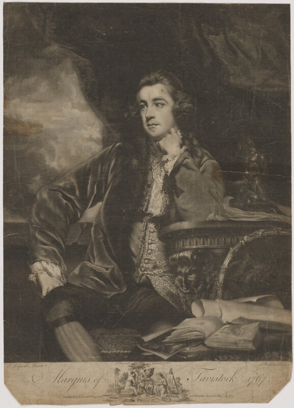 Francis Russell, Marquess of Tavistock, by James Watson, published by  John Boydell, after  Sir Joshua Reynolds, published 24 November 1767 (1765-1766) - NPG D40828 - © National Portrait Gallery, London