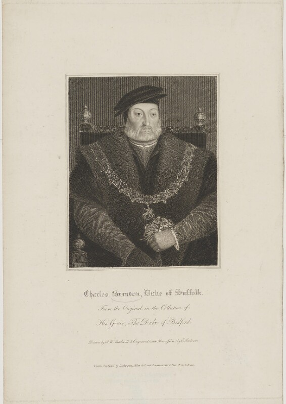 Charles Brandon, 1st Duke of Suffolk, by Edward Scriven, published by  Lackington, Allen & Co, and published by  Longman, Hurst, Rees, Orme & Brown, after  Robert William Satchwell, after  Unknown artist, published circa 1816 (circa 1540-1545) - NPG D40897 - © National Portrait Gallery, London