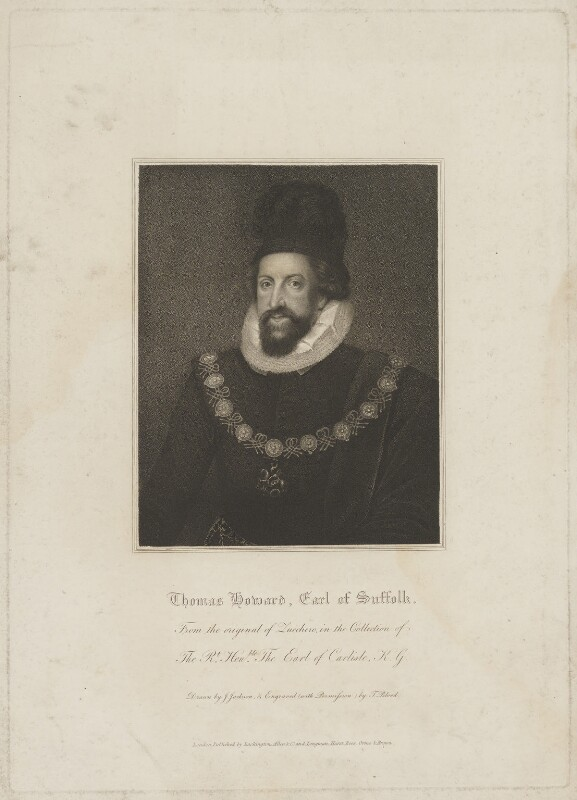 Thomas Howard, 1st Earl of Suffolk, by Thomas Blood, published by  Lackington, Allen & Co, published by  Longman, Hurst, Rees, Orme & Brown, after  John Jackson, after  Unknown artist, early 19th century - NPG D40899 - © National Portrait Gallery, London