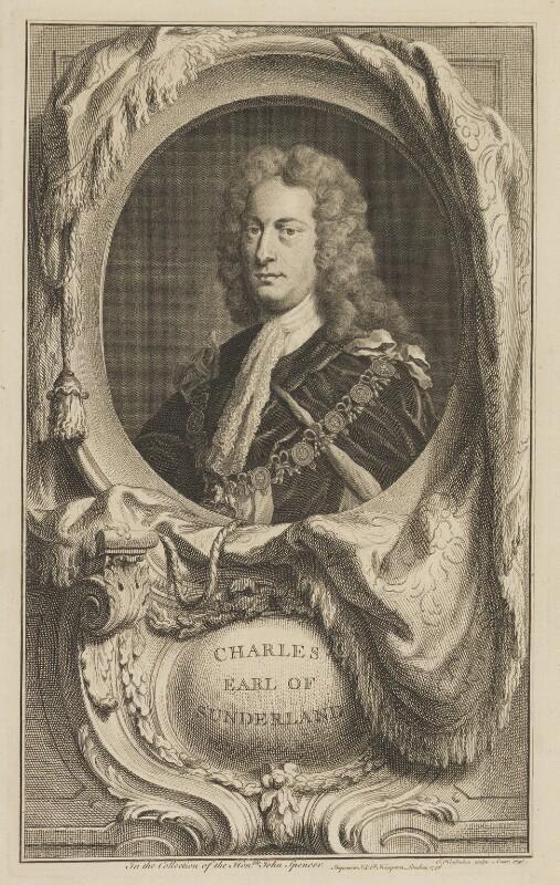 Charles Spencer, 3rd Earl of Sunderland, by Jacobus Houbraken, published by  John & Paul Knapton, possibly after  Sir Godfrey Kneller, Bt, published 1746 - NPG D40909 - © National Portrait Gallery, London