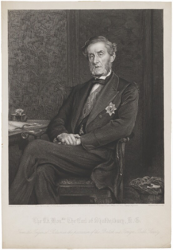 Anthony Ashley-Cooper, 7th Earl of Shaftesbury, by Richard Josey, published by  Henry Graves & Co, after  Sir John Everett Millais, 1st Bt, published 2 April 1878 (1877) - NPG D40665 - © National Portrait Gallery, London