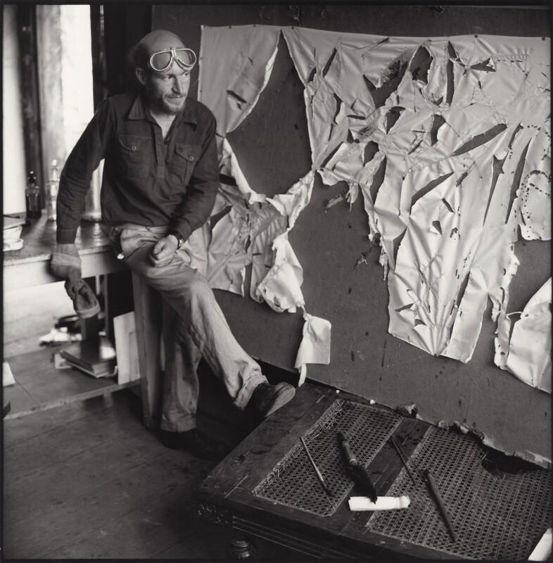 Gustav Metzger practicing for a public demonstration of Auto-destructive art using acid on nylon, possibly by John Cox, for  Ida Kar, 1960 - NPG x134797 - © National Portrait Gallery, London