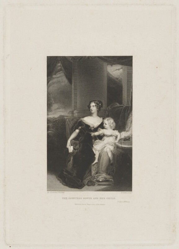 Harriet Elizabeth Georgiana Leveson-Gower, Duchess of Sutherland; Elizabeth Georgiana, Duchess of Argyll, by William Finden, printed by  H. Wilkinson, after  Sir Thomas Lawrence, 1831 (1828) - NPG D40929 - © National Portrait Gallery, London