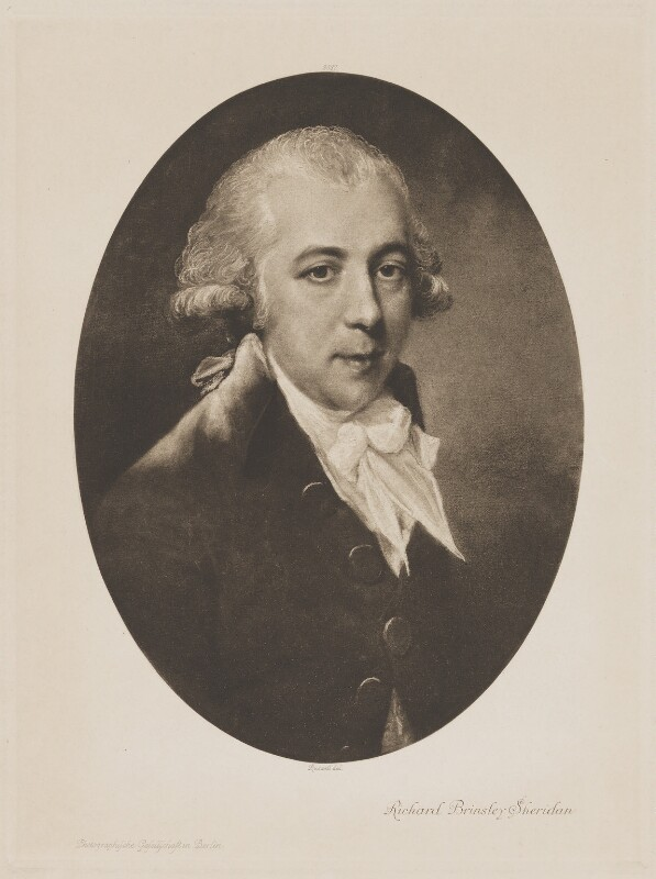 Richard Brinsley Sheridan, published by Photographische Gesellschaft, after  John Russell, (1788) - NPG D40698 - © National Portrait Gallery, London