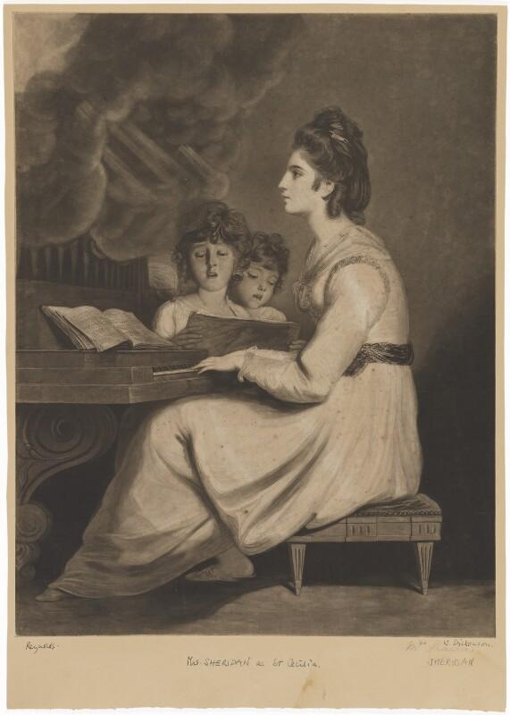 Elizabeth Ann Sheridan (née Linley) as St Cecilia, by William Dickinson, after  Sir Joshua Reynolds, late 18th century (1775) - NPG D40701 - © National Portrait Gallery, London
