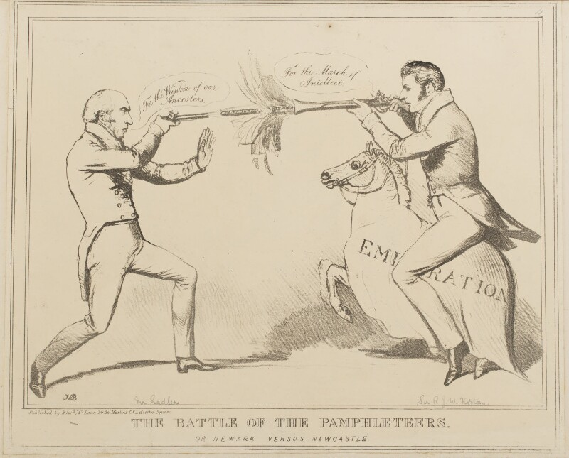 The Battle of the Pamphleteers or Newark versus Newcastle (Michael Thomas Sadler; Sir Robert John Wilmot-Horton), by John ('HB') Doyle, published by  Edward McLean, published 2 October 1829 - NPG D40939 - © National Portrait Gallery, London