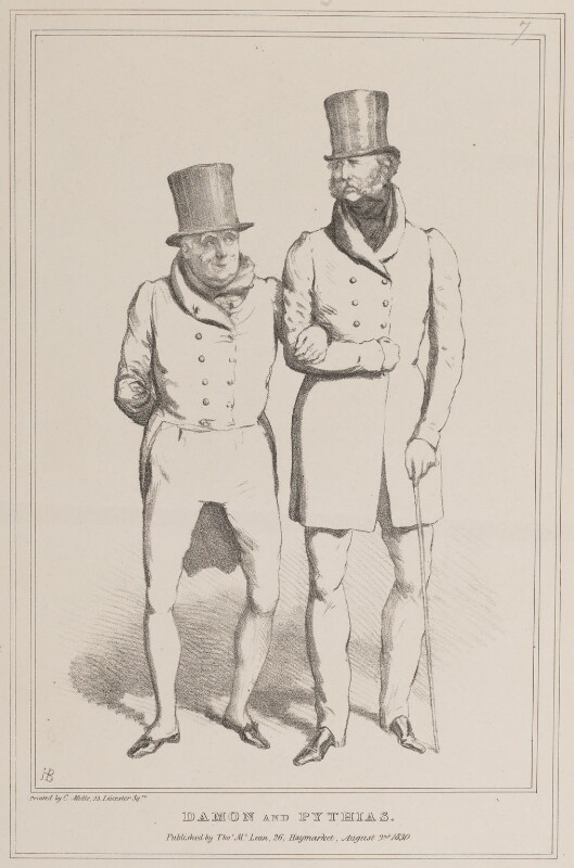 Damon and Pythias (John Scott, 1st Earl of Eldon; Ernest Augustus, Duke of Cumberland and King of Hanover), by John ('HB') Doyle, printed by  Charles Etienne Pierre Motte, published by  Thomas McLean, published 2 August 1830 - NPG D40942 - © National Portrait Gallery, London