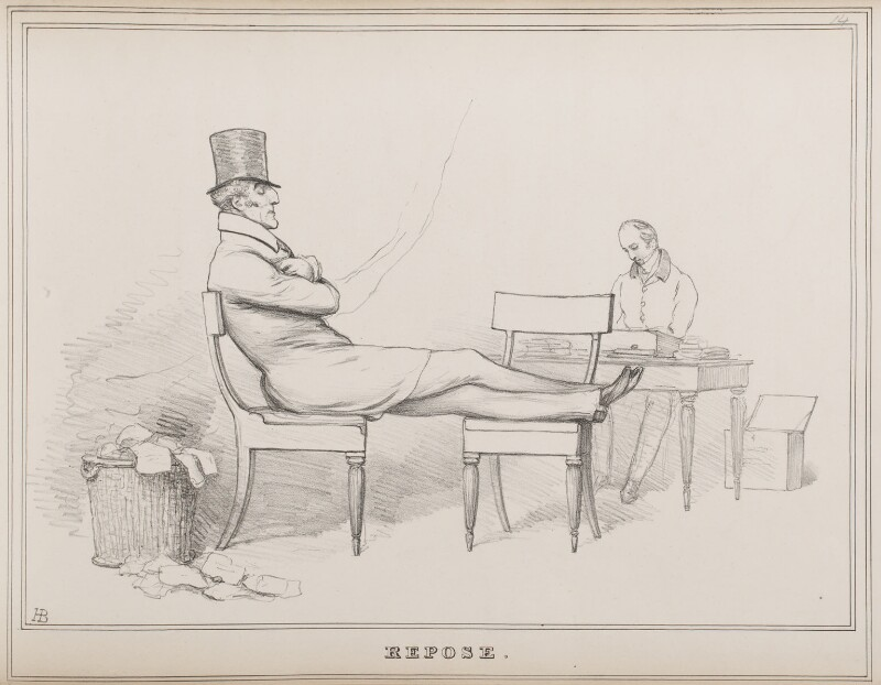 Repose (Arthur Wellesley, Duke of Wellington and an unknown man), by John ('HB') Doyle, published 10 July 1829 - NPG D40949 - © National Portrait Gallery, London
