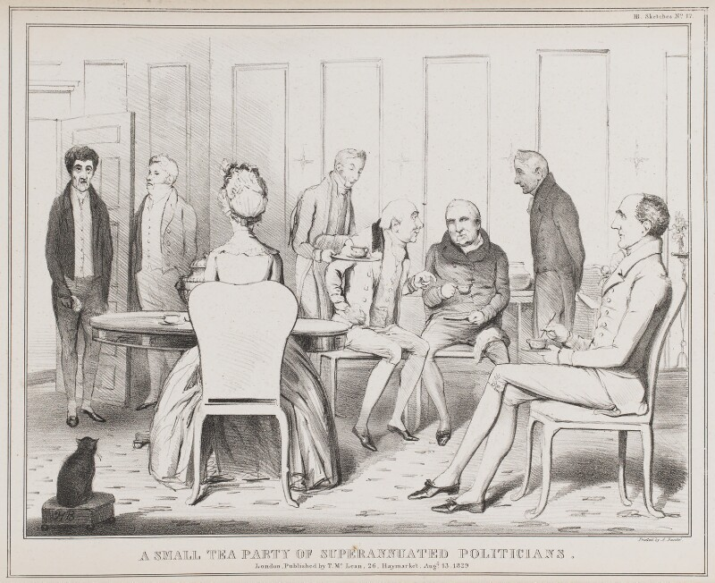 A Small Tea Party of Superannuated Politicians, by John ('HB') Doyle, printed by  Alfred Ducôte, published by  Thomas McLean, published 13 August 1829 - NPG D40952 - © National Portrait Gallery, London