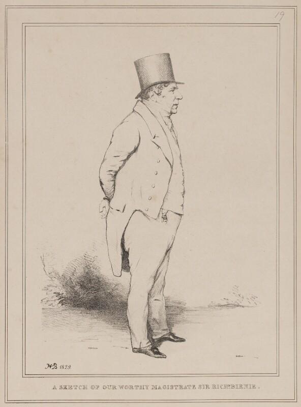 Sir Richard Birnie ('A Sketch of our Worthy Magistrate Sir Richd. Birnie'), by John ('HB') Doyle, 1829 - NPG D40954 - © National Portrait Gallery, London