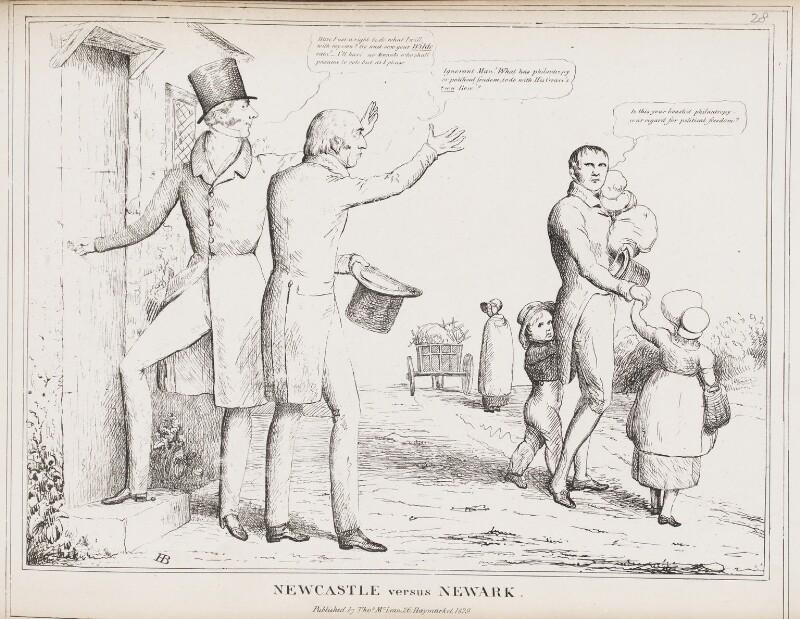 Newcastle versus Newark (Henry Pelham Pelham-Clinton, 4th Duke of Newcastle-under-Lyne; Michael Thomas Sadler), by John ('HB') Doyle, published by  Thomas McLean, published 1829 - NPG D40963 - © National Portrait Gallery, London