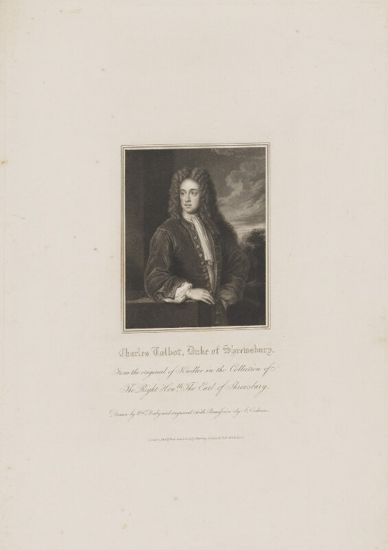 Charles Talbot, 1st Duke of Shrewsbury, by John Cochran, published by  Harding & Lepard, after  William Derby, after  Sir Godfrey Kneller, Bt, published 1 January 1831 - NPG D40717 - © National Portrait Gallery, London