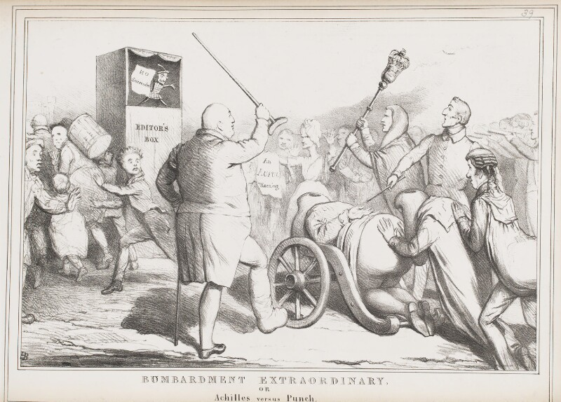 Bombardment Extraordinary, or Achilles versus Punch, by John ('HB') Doyle, published by  Thomas McLean, published 20 January 1830 - NPG D40974 - © National Portrait Gallery, London