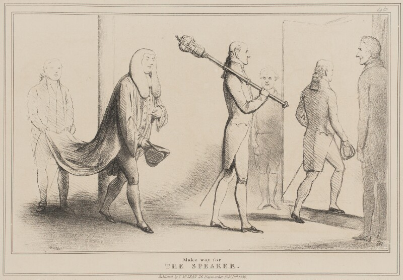 Make Way for the Speaker, by John ('HB') Doyle, published by  Thomas McLean, published 11 February 1830 - NPG D40981 - © National Portrait Gallery, London