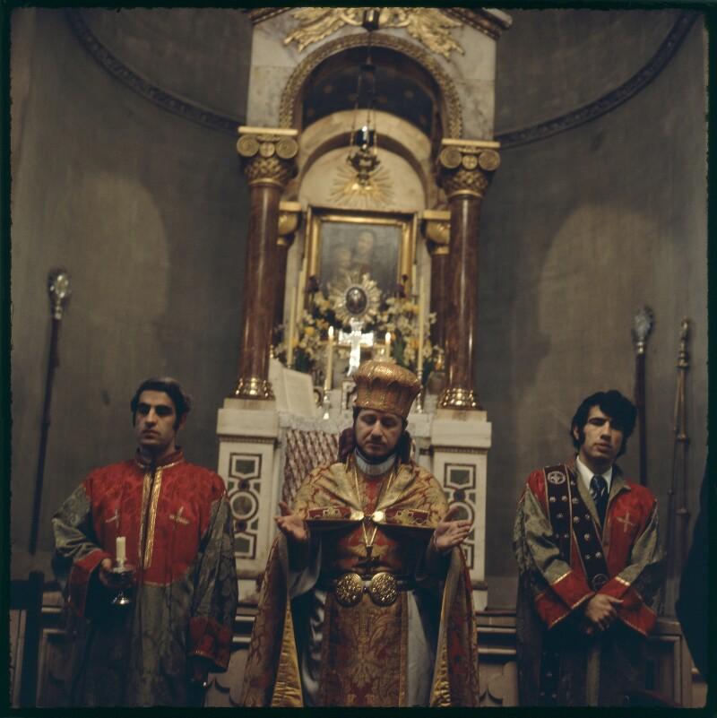 Vrej Nersessian; Nerses Pozapalian; Gaydzag Mahtesian, by Ida Kar, 1974? - NPG x134823 - © National Portrait Gallery, London