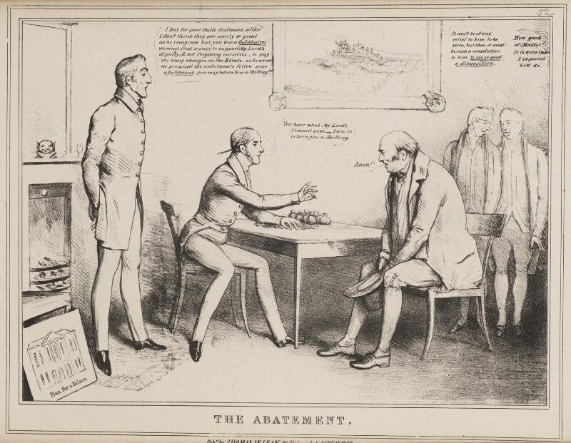 The Abatement (Arthur Wellesley, 1st Duke of Wellington; Henry Goulburn; John Bull; Joseph Planta; George Robert Dawson), by John ('HB') Doyle, published by  Thomas McLean, published 26 February 1830 - NPG D40987 - © National Portrait Gallery, London