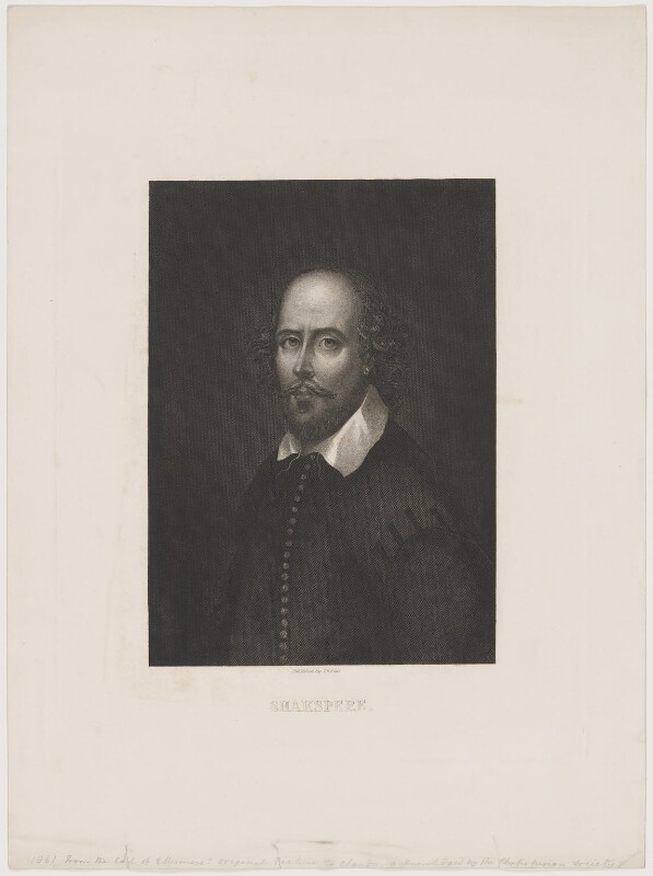 William Shakespeare, published by T.H. Ellis, after  John Taylor, mid 19th century (circa 1610) - NPG D40744 - © National Portrait Gallery, London