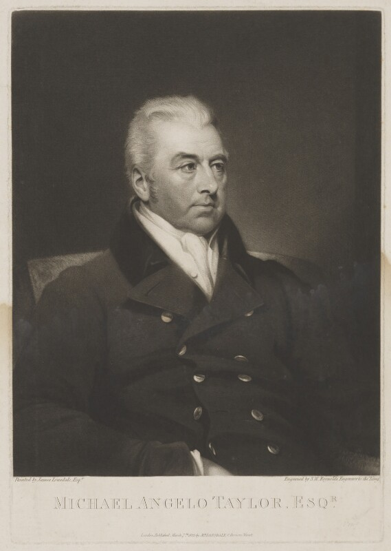 Michael Angelo Taylor, by Samuel William Reynolds, published by and after  James Lonsdale, published 7 March 1822 - NPG D40854 - © National Portrait Gallery, London