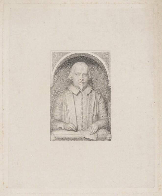 William Shakespeare, after Gerard Johnson, (circa 1620) - NPG D41659 - © National Portrait Gallery, London