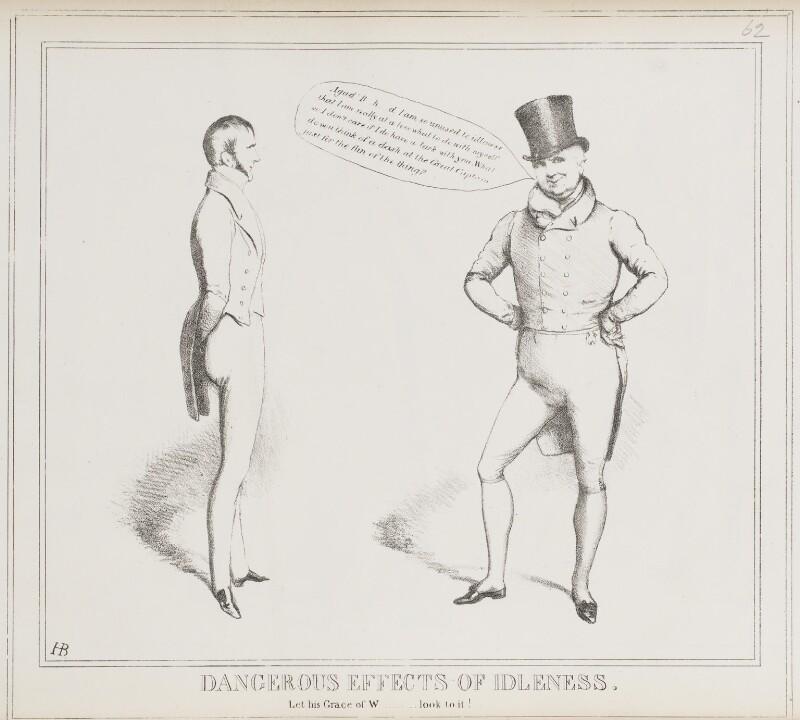 Dangerous Effects of Idleness (Charles Gordon-Lennox, 5th Duke of Richmond and Lennox; John Scott, 1st Earl of Eldon), by John ('HB') Doyle, published by  Thomas McLean, published 19 April 1830 - NPG D40997 - © National Portrait Gallery, London