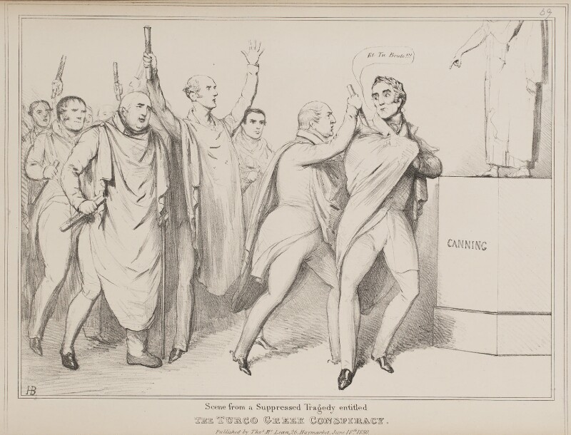 Scene from a Suppressed Tragedy entitled The Turco Greek Conspiracy, by John ('HB') Doyle, published by  Thomas McLean, published 18 June 1830 - NPG D41004 - © National Portrait Gallery, London