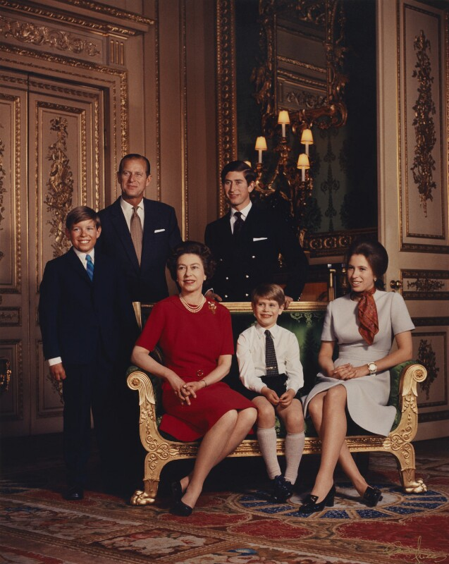 Queen Elizabeth II and her family, by Desmond Groves, 12 April 1971 - NPG P1547 - © Camera Press; On loan from American Friends of the National Portrait Gallery (London) Foundation, Inc.: Gift of Mr. Ford Hill.