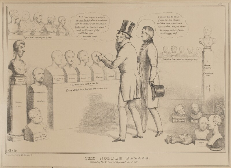 The Noddle Bazaar, by John ('HB') Doyle, printed by  Charles Etienne Pierre Motte, published by  Thomas McLean, published 9 September 1830 - NPG D41017 - © National Portrait Gallery, London