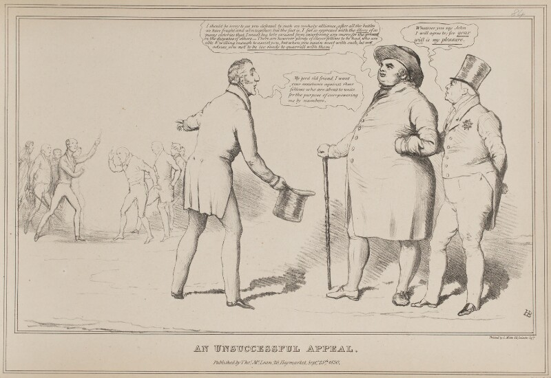 An Unsuccessful Appeal, by John ('HB') Doyle, printed by  Charles Etienne Pierre Motte, published by  Thomas McLean, published 25 September 1830 - NPG D41019 - © National Portrait Gallery, London