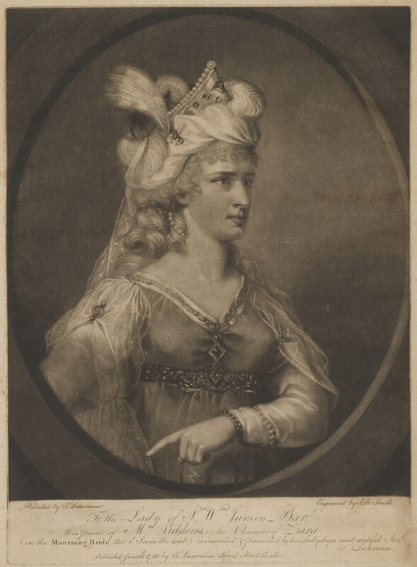 Sarah Siddons (née Kemble) in the character of Zara, by John Raphael Smith, published by and after  Sir Thomas Lawrence, published 18 June 1783 - NPG D41673 - © National Portrait Gallery, London
