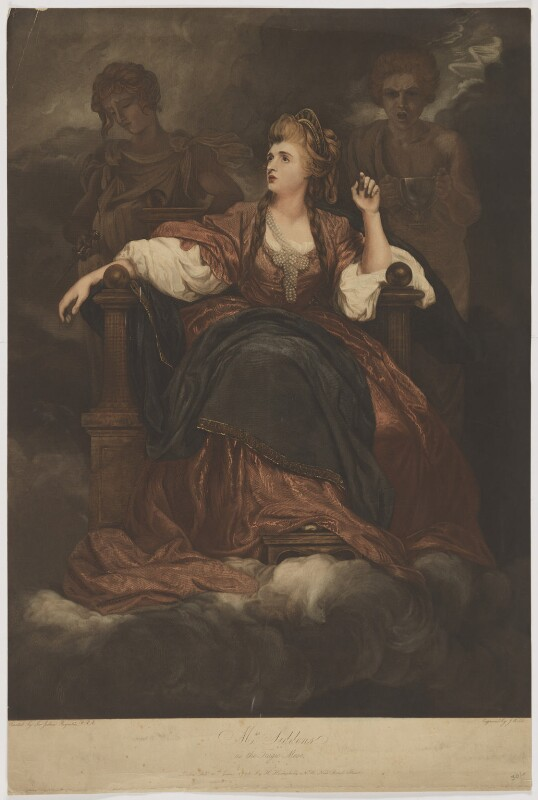 Sarah Siddons (née Kemble) as the Tragic Muse, by Joseph Webb, published by  Hannah Humphrey, after  Sir Joshua Reynolds, published 10 June 1798 (1783-1784) - NPG D41674 - © National Portrait Gallery, London