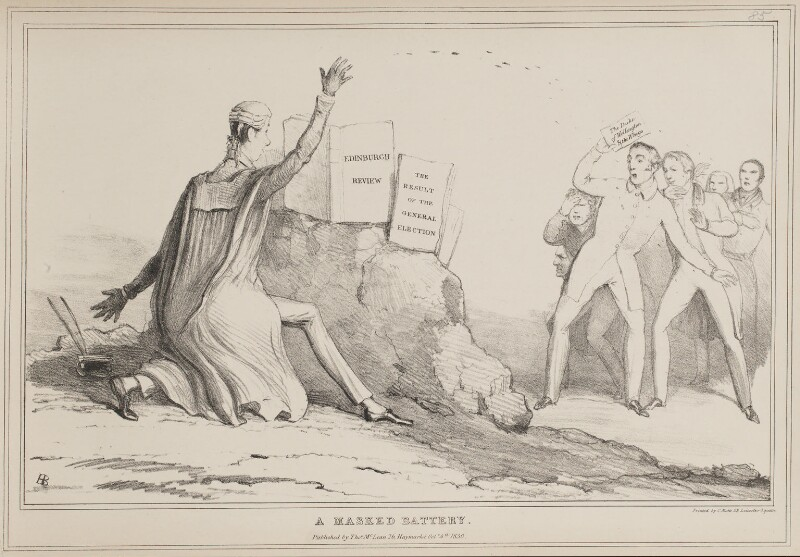 A Masked Battery, by John ('HB') Doyle, printed by  Charles Etienne Pierre Motte, published by  Thomas McLean, published 4 October 1830 - NPG D41020 - © National Portrait Gallery, London