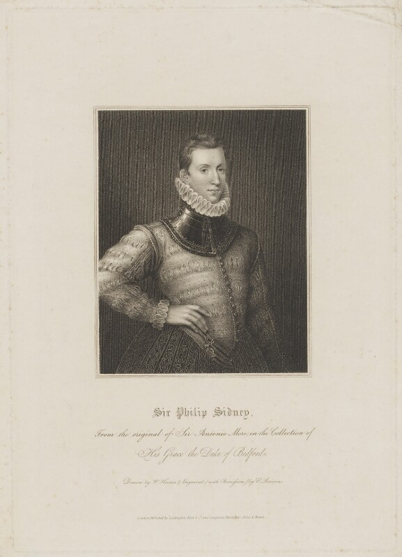 Sir Philip Sidney, by Edward Scriven, published by  Lackington, Allen & Co, published by  Longman, Hurst, Rees, Orme & Brown, after  William Haines, after  Unknown artist, early 19th century (circa 1576) - NPG D41682 - © National Portrait Gallery, London